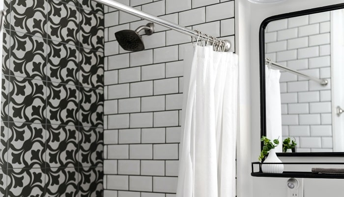 what is the standard height for a shower curtain rod